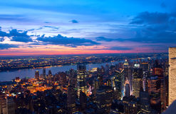 View on New York and New Jersey. After sunset Royalty Free Stock Image