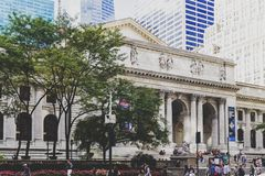 View of the New York Public Library in Manhattan Royalty Free Stock Photography