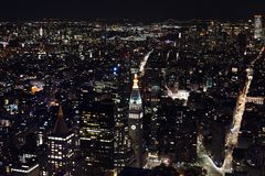 New York from Sky at Night stock photos