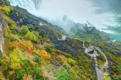 View on New York state Buffalo city Niagara Falls sightseeing points, stairs staircase to waterfall on autumn colorful hill. Famou. S Niagara sightseeing Stock Images
