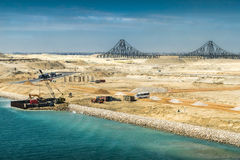 View from the newly opened extension channel of the Suez Canal t Stock Images