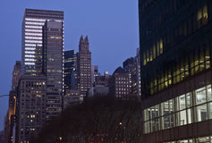 View next to Bryant park at night Royalty Free Stock Photos