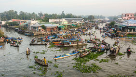 View of Nga Nam floating market in Soc Trang, Vietnam Stock Photography