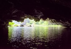 View of the Ngo River from natural karst grotto, Vietnam royalty free stock photos
