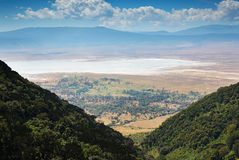 View of the Ngorongoro crater. From the top Stock Photo