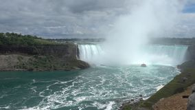 View of Niagara falls and Niagara River. The Largest Waterfall In North America.