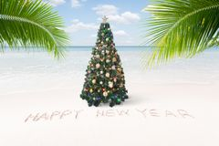 View of nice Christmas and  new year theme  tropical beach. Beautiful and nice Stock Photos