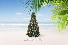 New year tropic. View of nice Christmas and  new year theme  tropical beach Stock Photos