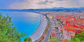 View of Nice city, Beach at sunset, Promenade des Anglais, Cote d`Azur, French riviera, Mediterranean sea, France. View of Nice city, Beach at sunset, Promenade stock photography