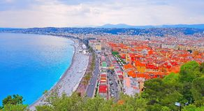 View of Nice city, Beach at sunset, Promenade des Anglais, Cote d`Azur, French riviera, France. View of Nice city, Beach at sunset, Promenade des Anglais, Cote d stock images