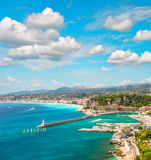 View of Nice city, french riviera, France. Turquoise mediterranean sea and perfect blue sky Royalty Free Stock Photos