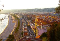 View of Nice city, Promenade des Anglais, Cote d`Azur, French riviera, Mediterranean sea, France.  royalty free stock image