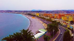 View of Nice city, Promenade des Anglais, Cote d`Azur, French riviera, Mediterranean sea, France.  royalty free stock photography