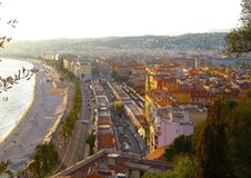 View of Nice, Promenade des Anglais, Cote d`Azur, French riviera, Mediterranean sea, France. View of Nice city, Promenade des Anglais, Cote d`Azur, French stock photography