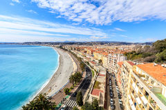 View of Nice coastline and beach with blue sky Stock Images