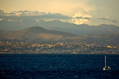 View of Nice, France. Seashore view of Nice, France, at sunset royalty free stock photo