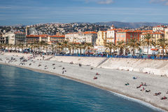 View of Nice in the French Riviera in a sunny day, France Royalty Free Stock Image