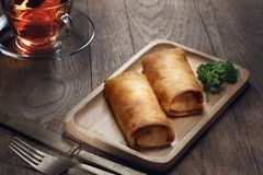 View of nice fresh hot stuffed crepes background Royalty Free Stock Image