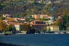 View of. A nice view of Garlate city from Calolziocorte, On the Lake of Como. November 2017. The main church royalty free stock photos