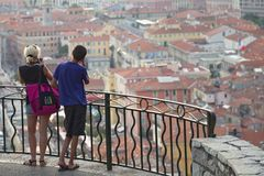 View of Nice from the hill, France. Young couple enjoying the view of Nice from the hill, France, Europe Stock Image