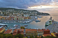 View of Nice Port from the Castle Hill before sunrise Royalty Free Stock Photos