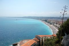 View of the Nice's coastline, French Riviera. Panoramic view of the Nice's coastline called Promenade des anglais, French Riviera Royalty Free Stock Photography