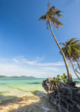 View of nice tropical beach with some palms around. Koh Laoya Sea of Thailand. Tropical island of Koh Laoya in the Gulf of Thailand stock image