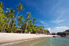 View of nice tropical empty sand beach Stock Photo
