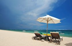View of nice tropical empty sandy beach Royalty Free Stock Photos