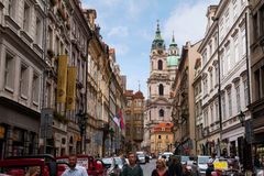 View of Nicholas Palace in Prague. Prague, Czech Republic, view of palace from narrow street near Charles Bridge Royalty Free Stock Images