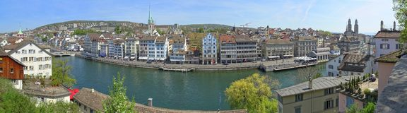 A view of Niederdorf and the Limmat River royalty free stock photo
