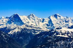 View from the Niederhorn Beatenber Mountain in Switzerland Stock Photo