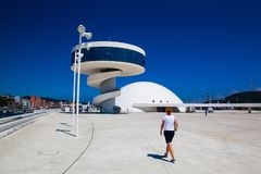 View of Niemeyer Center building in Aviles, Spain. Aviles, Spain - July 4,2017: View of Niemeyer Center building in Aviles. The cultural center was designed by stock photos