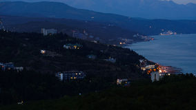 View of the night Alushta. Crimea. Night coast of Crimea. Alushta. Foothills Demerji Royalty Free Stock Images