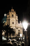 View by night of baroque italian cathedral Stock Image