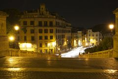 A view at night from Caiptoline Hill, Rome. The view from the Piazza Campidoglia, Capitoline Hill, Rome at night. A summer evening July 2014. Long exposure Royalty Free Stock Photography