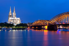 View of night Cologne over the Rein Royalty Free Stock Image