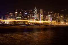 VIEW ON NIGHT HONG KONG Royalty Free Stock Photography