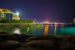 View on the night Hurgada. stock photo