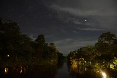A view of the night in the jungle. Long exposure shot of river with clear sky at night stock photo