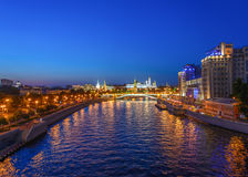 View on night Kremlin. Moscow, night view of the river and the Kremlin Stock Image