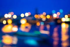 View of night light blur with reflection light in water Stock Photography