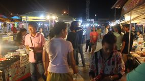 View of a night market in Kanchanaburi stock footage