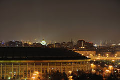 The view of night Moscow. The view of night Moscow from sparrow hills. Sport centre Luzniki Stock Photo