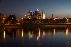 View of the night Moscow City, Moscow, Russia Stock Images