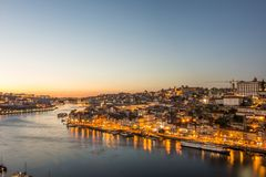 View by night, Porto, Portugal. View of city and river at sunset, Porto, Portugal Stock Photo