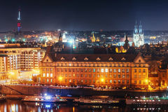 View of night Prague, Czech Republic Stock Images