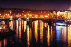 View of night Prague, Czech Republic Stock Photos