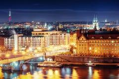 View of night Prague, Czech Republic Stock Photo