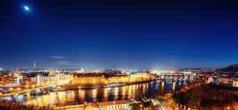 View of night Prague, Czech Republic Stock Image